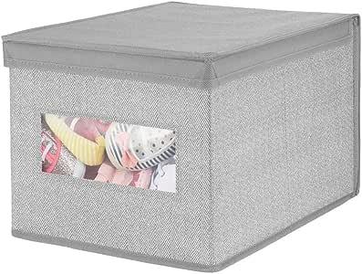 mDesign 装饰性柔软可叠放织物衣柜存储收纳盒收纳盒 - 透明窗户、盖子,适用于儿童房、幼儿房 - 大号,可折叠 灰色 1包 02554MDB