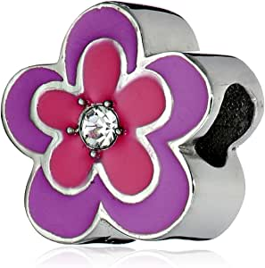 Disney Stainless Steel Best Aunt Flower Crystal Bead Charm
