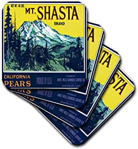 3dRose cst_171150_1 Mt. Shasta Brand California Pears Mountain Landscape with Tall Pines-Soft Coasters, Set of 4