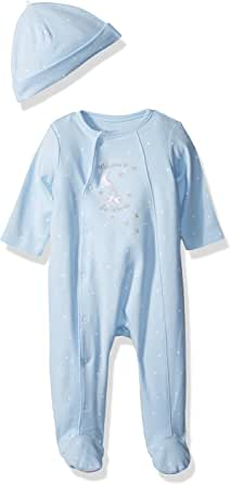 little me baby boys footie and had, blue, newborn