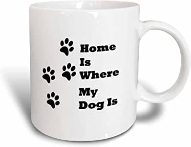 3dRose Florene - 数字符号和标语 - Home is Where My Dog Is With Paw 印字 - 马克杯 白色 15盎司