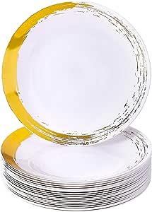 "BRUSHED DISPOSABLE 餐具套装   20 个餐盘 Gold 7.5"" Side Plates"