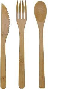 BambooMN *可重复使用竹制餐具套装、勺子、叉子和刀 10 包 Fork, Knife, and Spoon Set 6955114939163a