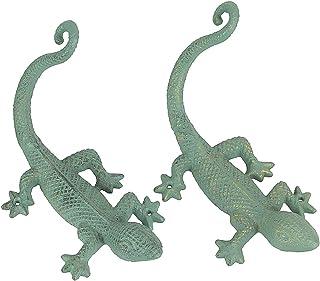 Verdigris Green Finish 铸铁壁虎蜥蜴壁挂植物衣架支架 2 件套
