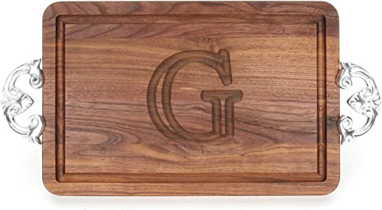 """CHUBBCO W210-CL-G Thick Cutting Board with Classic Cast Aluminum Handle, 10.5-Inch by 16-Inch by 1-Inch, Monogrammed """"G"""", Walnut"""