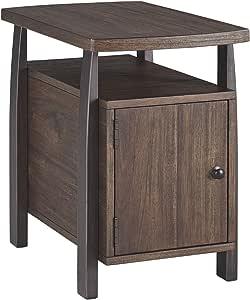 Benjara 木制和金属端桌,带杂志架,棕色