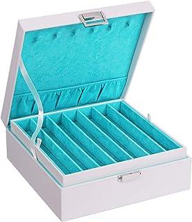 BEWISHOME 项链收纳盒项链夹,适用于链条,手镯 - 12 个隔层(7 个常规 + 5 大号),6 个挂钩,2 层 - 女士女孩优雅首饰盒,仿皮 SSH31 白色 SSH31W