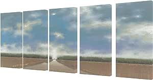 Stupell Decor 蓝色天空和长路径画布艺术 - 5 件套 棕褐色 TWP-205_CAN_5PC_10X21