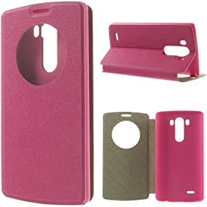 JUJEO Rose Smart Quick Circle Window Silk Texture Leather Case for LG G3 D850 D855 LS990 - Retail Packaging - Pink