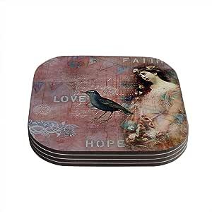 "Kess InHouse Suzanne Carter""Faith Hope Love""粉色排印杯垫,4 x 4 英寸,4 件套"