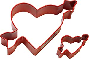 Cybrtrayd 000RM-1156/R-1656/R R&M Parent/Child Cookie Cutter Set, 4-Inch and 1 to 1.5-Inch, Heart and Arrow, Red
