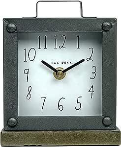 Rae Dunn 台钟 - 电池供电现代金属质朴设计,适用于卧室、办公室、厨房 - 小型经典模拟显示 - 别致的家居装饰桌面、台面 Square