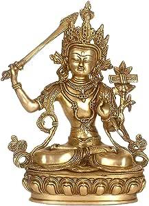 异国情调的印度藏佛教Deity、The Serene Manjushri – 黄铜Statue Natural Brass