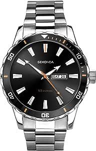 Sekonda 男式模拟经典石英手表不锈钢表带 1373
