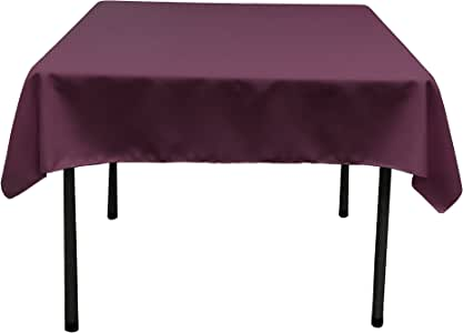 LA Linen Polyester Poplin Square Tablecloth, 52 by 52-Inch, Eggplant