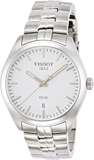 Tissot PR100 银色表盘不锈钢石英男式手表 T1014101103100