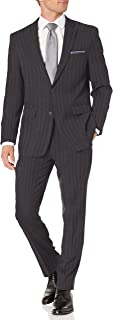 Perry Ellis 男式两件套修身西装 灰色条纹 48 Long