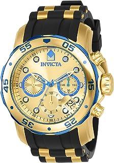 Invicta 男士 17887 Pro Diver 蓝色点缀 18k 镀金不锈钢手表