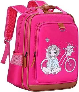 女孩背包 15 英寸(约 38.6 厘米)| 粉色儿童书包,适合幼儿园或小学。(女孩带自行车)