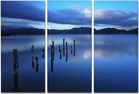 设计艺术 Designart 深蓝色海与彼得里马斯海景照片金属墙艺术 - MT8367 36x28 MT8367-36-28