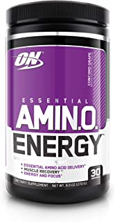 Optimum Nutrition 欧普特蒙 ESSENTIAL AMIN.O. ENERGY必需氨基酸粉,含绿茶和生咖啡提取物,适合运动前服用,康科德葡萄味,30份