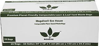 MOGALIXE 环保房屋植物可堆肥垃圾袋 - 家用和工业堆肥认证 - *高 ASTM D6400 评级 - 防漏 33 Gallon