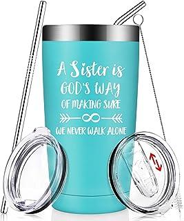 姐妹礼物 来自姐妹,兄弟 - 有趣的毕业生日圣诞礼物创意灵魂小姐,岳姐妹,女士,她的真空隔热酒杯 带吸管