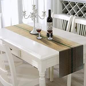AAYU 品牌高级粗麻布桌巾,中间有 3 条条纹,30.48 厘米 x 9.14 米 x2022;无框,食品级粗麻布 - 环保,天然产品,360 英寸长 绿色