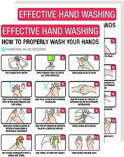 Dynamico 洗手海报,如何清洗您的手牌,*卫生*海报 | 非常适合家庭、学校、官员以及公共空间使用 | 21.59 x 27.94 厘米 | 每包 5 个