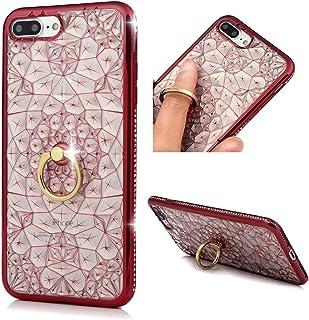 MOLLYCOOCLE iPhone 7 Plus 手机壳,手工制作奢华 3D 闪亮果冻水钻 PU 皮革钱包翻盖保护套带磁性闪亮按钮扣合 iPhone 7 PlusiPhone 7 Plus/iPhone 8 Plus 红色