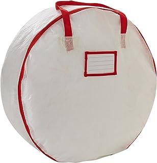 Household Essentials Circular Wreath Storage Bag with Red Trim 白色 24-Inch