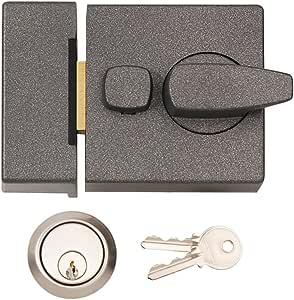 Yale Type 窄死锁夜间锁 40mm 灰色带黄铜圆柱 + 2 个钥匙