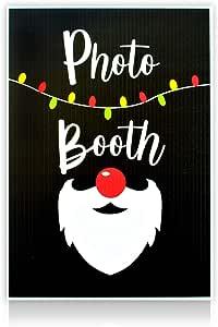 "Bigtime Signs Photo Booth 道具标志   非常适合派对、活动或摄影道具和装饰 Christmas Black Background Santa 13.5"" x 9.5"""