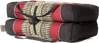 Zafuko Yoga、Meditation、Kundalini 和 Pilates 可折叠坐垫 (Zafu) 适合随身携带的长块、胸垫、地板枕、道具 - * 有机卡波克纤维填充