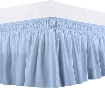 包裹式床裙 - 聚酯纤维/超细纤维弹性床罩三面织物丝质柔软,防皱,经典时尚,BY-Rajlinen