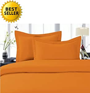 Elegant Comfort 4-Piece 1500 Thread Count Egyptian Quality Hypoallergenic Ultra Soft Wrinkle, Fade, Stain Resistant Bed Sheet Sets with Deep Pockets, All Sizes and Many Colors Available, #1 Bed Sheet Set on Amazon - SALE - HIGHEST QUALITY flame orange King