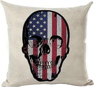 Feddiy 抱枕套 - 装饰枕套定制亚麻靠垫沙发办公室家居装饰男士(蓝色黑黄白绿橙粉灰色) Skull Flag 18x18