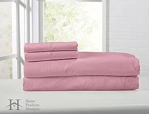 Home Fashion Designs Bellamy 系列埃及优质双磨毛超细纤维床单套装。 低致敏性,抗皱不褪色*店奢华床单品牌。 浅玫瑰色 Queen 14116148