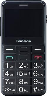 Panasonic 松下 入门级移动电话 KX-TU150EXB 带有紧急呼叫按钮 & 照明键,兼容耳机,黑色
