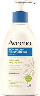 Aveeno 艾惟诺 舒缓保湿乳液 洋甘菊香气和三重燕麦复合物,聚二甲基硅氧烷皮肤保护剂,用于敏感和超干发痒的皮肤,12液体盎司/354ml