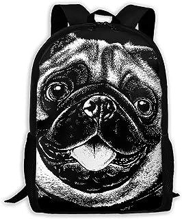 趣味波士顿梗独特户外肩包面料背包多用途成人背包 Cute Pug Dog 均码