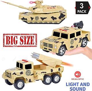 Liberty 进口 3 合 1 真正英雄车辆儿童玩具汽车玩具套装3 键 LED 灯和声音效果 Military Vehicles 迷彩色