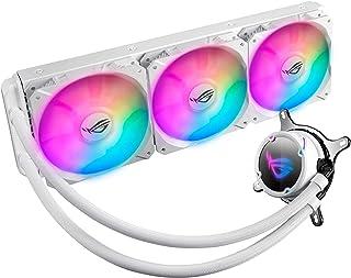 ASUS 华硕 ROG Strix LC 360 RGB 白色版一体化液态CPU散热器,带Aura Sync RGB,和三重ROG 120毫米可寻址RGB散热器风扇