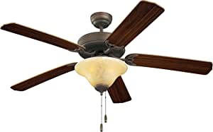 """Monte Carlo 5HS52RBS-L, Homeowner Deluxe Ceiling Fan with Light,52"""", Roman Bronze 需配变压器"""