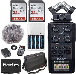 """Zoom H6 全黑 6 输入/6 轨便携式手持录音机,带单麦克风胶囊 + Zoom APH-6 配件包 + 2x 32GB 存储卡 + 11"""" 配件包 + 4 AA 电池和充电器+清洁布"""
