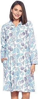 Casual Nights 女士印花微绒拉链长袖睡衣