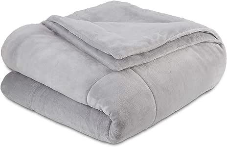 Vellux 长毛绒 Lux 双人床毛毯 浅灰色 King 027399034409