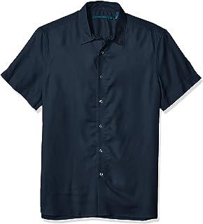 Perry Ellis 男式纯色莫代尔衬衫 Dark Sapphire-4esw7021 Large
