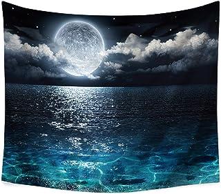 月亮海洋星星挂毯,蓝色女王青*装饰海洋挂毯湖夜云黑色自然风光挂毯卧室客厅宿舍。59 x 51 英寸(约 149.9 x 129.7 厘米)