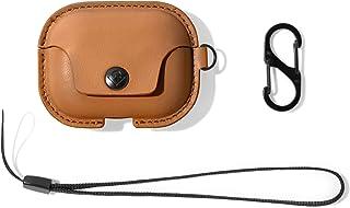 Twelve South AirSnap Pro   皮革保护套/保护套,带防丢失夹和可选携带带,适用于 AirPods Pro,Cognac